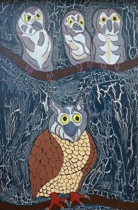 gufi sui rami, mosaico